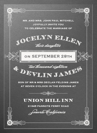 Antique Frame Clear Wedding Invitations