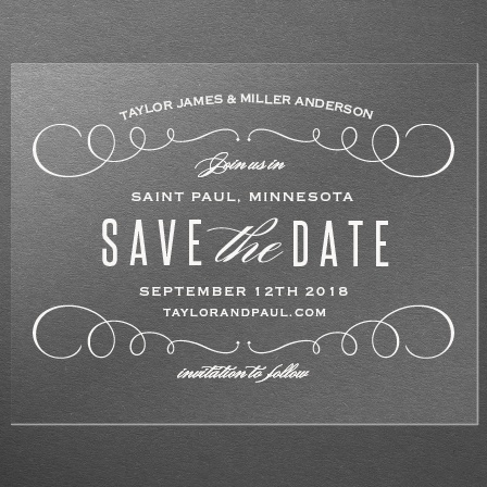 Swirl Frame Clear Save-the-Date Cards