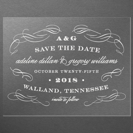 Scrolled Frame Clear Save-the-Date Cards