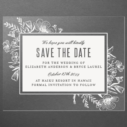 Floral Border Clear Save-the-Date Cards