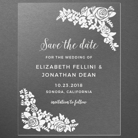 Corner Wreath Clear Save-the-Date Cards