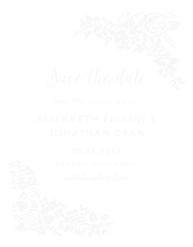 The Corner Wreath Clear Save-the-Date Cards are perfect for those couples who to add a sweet floral touch to wedding stationery.