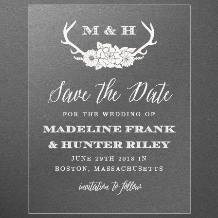 Blooming Antlers Clear Save-the-Date Cards