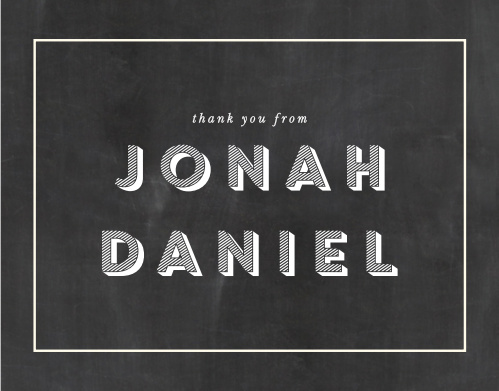 Your guests will be delighted to receive these matching Chalkboard Bar Mitzvah Thank You Cards after the celebrating is all done.