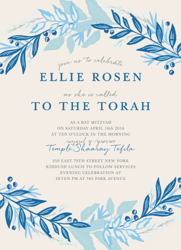 With a cascade of leaves in varying shades of blue surrounding the text in the center, these Regal Wreath Bat Mitzvah Invitations radiate elegance.