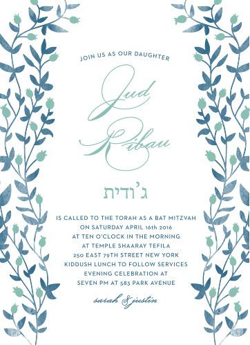 Enchanting vines encircle your text on the Vintage Vines Bat Mitzvah Invitations.