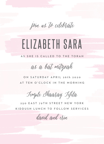 Announce your daughter's coming of age with our soft Pleasant Paintbrush Bat Mitzvah Invitations.