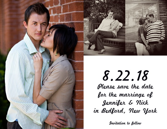 The Tea Photo Collage save-the-date is perfect for the couple who wants to show off their new fiancée. It features room for 3 photos, one large and two smaller, as well as your own custom wording.