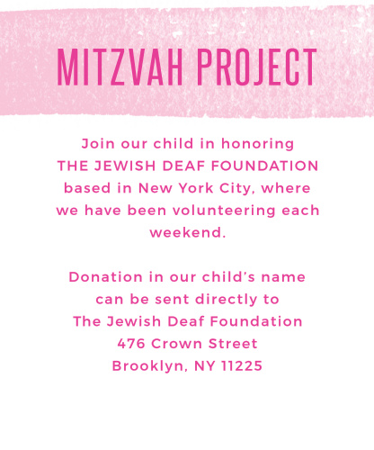 Focus your guests' efforts with Watercolor Stripes Bat Mitzvah Project Cards.