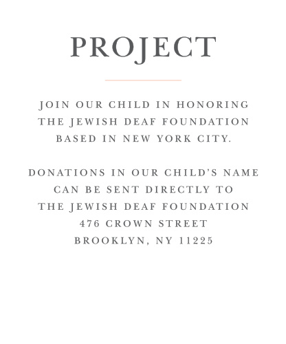 Once you've chosen a project, keep your guests on the same page with Thrilling Thirteen Bat Mitzvah Project Cards.