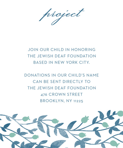 After you choose a project, keep your guests informed with Vintage Vines Bat Mitzvah Project Cards.