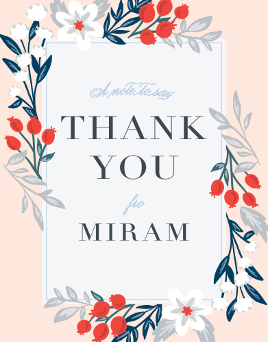 Enchanting foliage trail along the sides of the Pomegranate Bouquet Bat Mitzvah Thank You Cards.