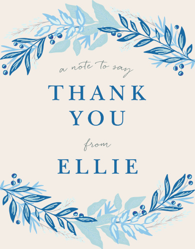 With a cascade of leaves in varying shades of blue surrounding the text in the center, these Regal Wreath Bat Mitzvah Thank You Cards radiate elegance.