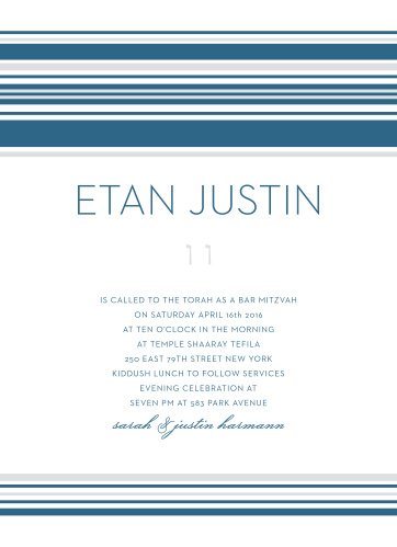 With soft silver and classic blue lines as the primary designs, Tallis Bar Mitzvah Invitations embody a minimalistic design.