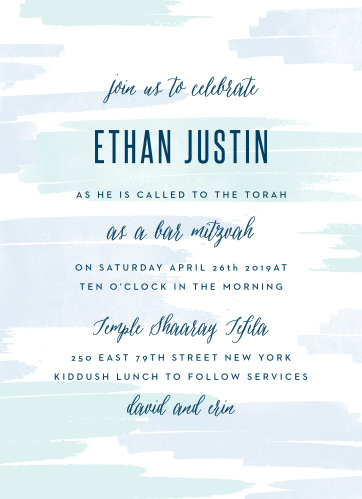 Announce your son's coming of age with our soft Pleasant Paintbrush Bar Mitzvah Invitations.
