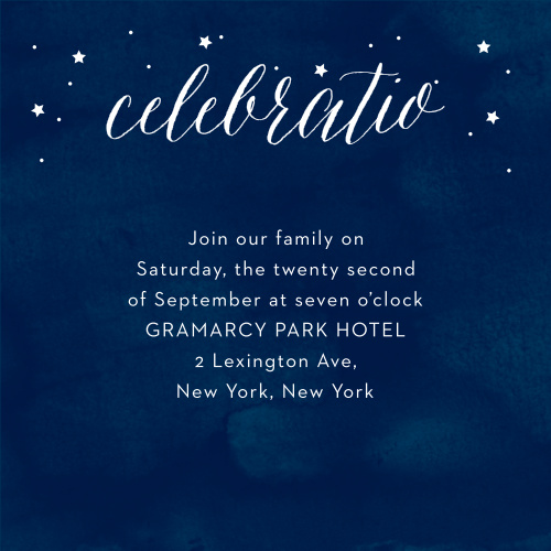 With a halo of stars surrounding the title of these Starry Night Bar Mitzvah Reception Cards, as well as a background smudged with various shades of blue to give the appearance of an actual night sky, these cards are an excellent choice for inviting your family and friends to your celebration.