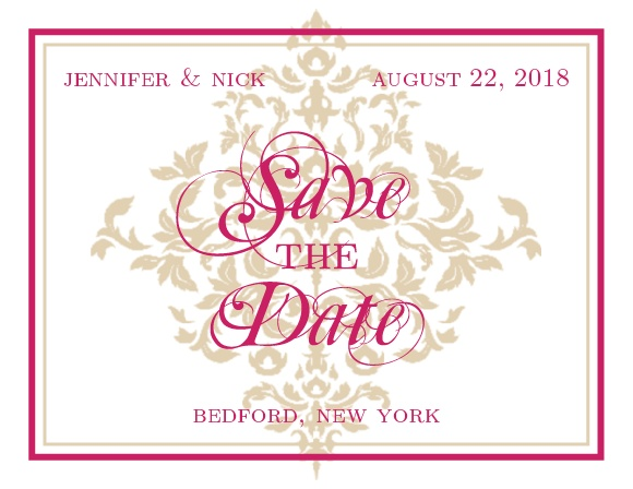 The Elegant Damask save the date card has an air of elegance that is sure to make an impression.