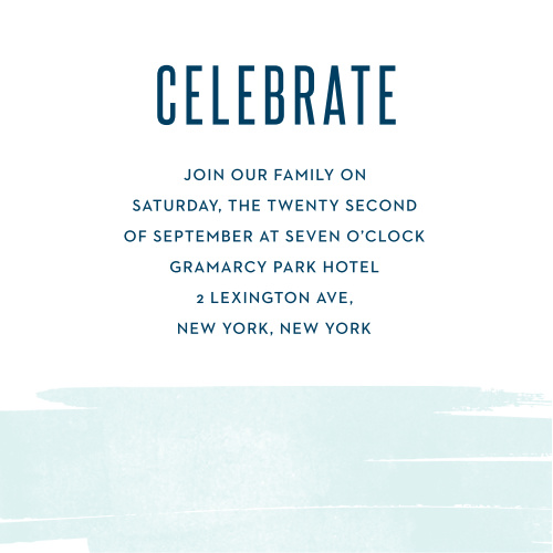 Guarantee that your guests know where the party is with the Pleasant Paintbrush Bar Mitzvah Reception Cards.