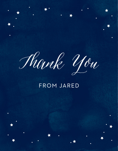 These Starry Night Bar Mitzvah Thank You Cards are a beautiful way to show your gratitude to their recipients.