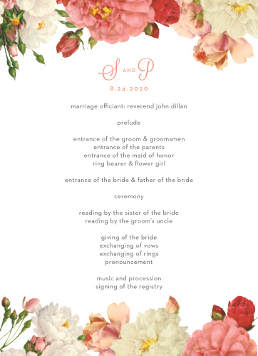 When your guests arrive at your wedding use the Le Jardinier Wedding Programs to inform them of the agenda in style.