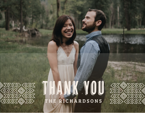 Our Desert Sky Thank You Cards are as beautiful as they are simple: choose one of your favorite engagement photos to serve as the background of the card, then allow the gently feathered arrows to guide your guests to your appreciative sentiment at the center.
