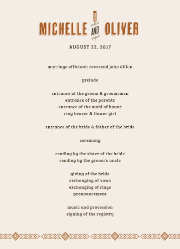 Guide your guests through each moment, and each member, of your wedding ceremony with our Desert Sky Wedding Programs.