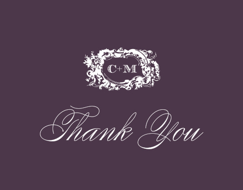 Your initials take center stage on our Style & Grace Thank You Cards; the gorgeous monogram, surrounded by undulating designs, can quickly become a symbol representative of the elegance of your wedding itself.