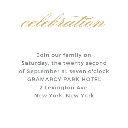 No matter what, there are always those handful of special people you want at your ceremony. Make sure they get the message with the beautifully Golden City Foil Bat Mitzvah Reception Cards.