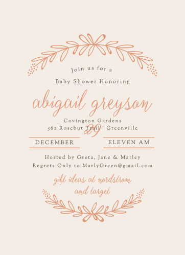 The Garden Wreath Foil Baby Shower Invitations are perfect for those springtime showers.