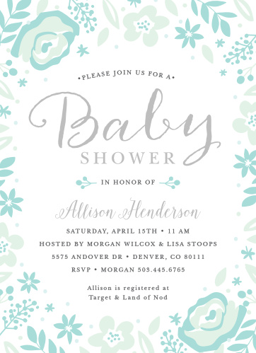Embrace the bloom, and iInvite your loved ones to share in the joy with the Baby Blooms Foil Baby Shower Invitation.