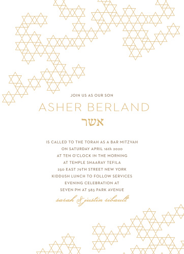 Featuring intricately connected Stars of David cascading across their cover, Star Pattern Foil Bar Mitzvah Invitations are a wonderful way to invite your loved ones to your son's special celebration.