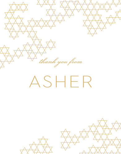 Express your appreciation with Star Pattern Bar Mitzvah Thank You Cards.