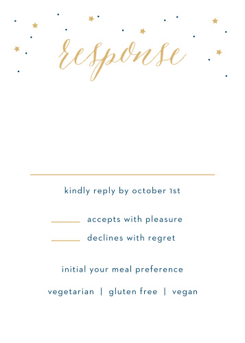 Featuring an inverse color scheme that's sure to stand out to your recipients, the Starry Night Foil Bar Mitzvah Reception Cards will help you get started on your guest list.
