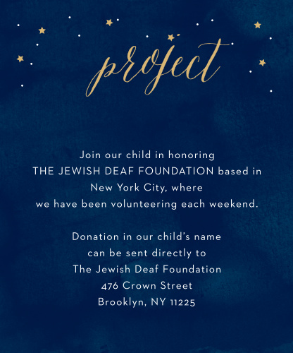 Focus your guests' efforts where they're needed most with Starry Night Foil Bar Mitzvah Project Cards.