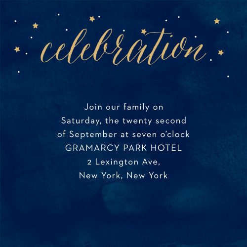 With a halo of stars surrounding the title of these Starry Night Foil Bar Mitzvah Reception Cards, as well as a background smudged with various shades of blue to give the appearance of an actual night sky, these cards are an excellent choice for inviting your family and friends to your celebration.