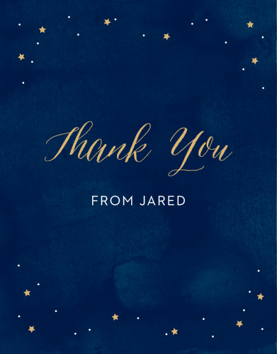 These Starry Night Foil Bar Mitzvah Thank You Cards are a beautiful way to show your gratitude to their recipients.
