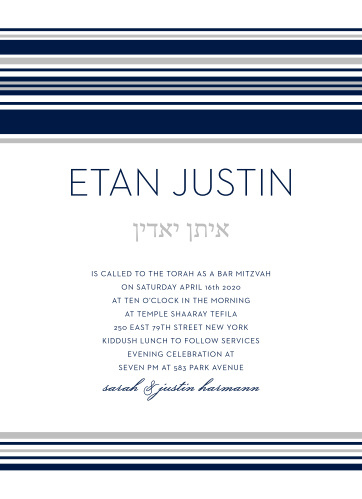 With soft silver and classic blue lines as the primary designs, Tallis Foil Bar Mitzvah Invitations embody a minimalistic design.
