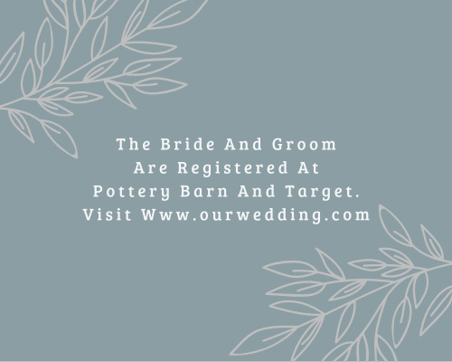 Lakeside Leaves Foil Registry Cards give you the opportunity to inform your guests, ahead of time, where to buy wedding gifts from.