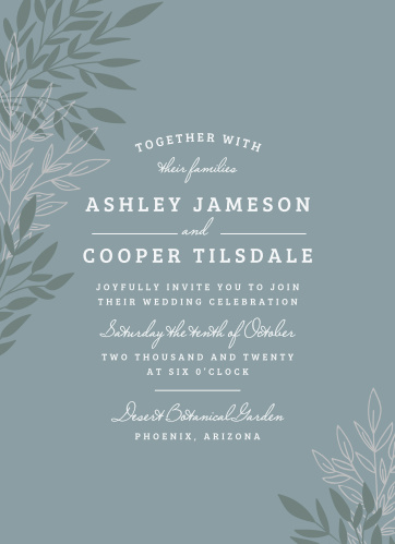 A background the color of slate, a collection of leaves growing steadily upward in alternating rock green and soft ecru, and two typefaces that together express a shy elegance: Lakeside Leaves Foil Wedding Invitations are perfect for ensuring that all of your loved ones are in attendance.