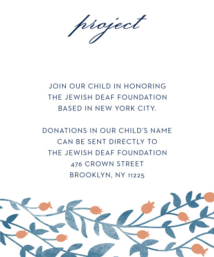 After you choose a project, keep your guests informed with Vintage Vines Foil Bat Mitzvah Project Cards.