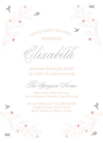 Graceful birds dot the background of the In Flight Foil Baby Shower Invitations.
