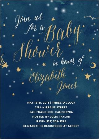 Twinkle Twinkle Foil Baby Shower Invitations