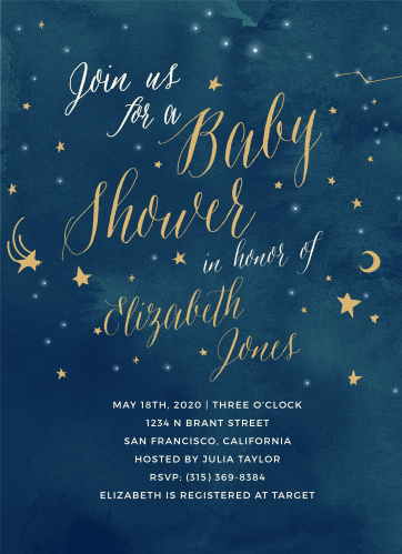 Invite friends and family to celebrate the radiant mother-to-be with the Twinkle Twinkle Foil Baby Shower Invitations from the Love Vs Design Collection at Basic Invite.
