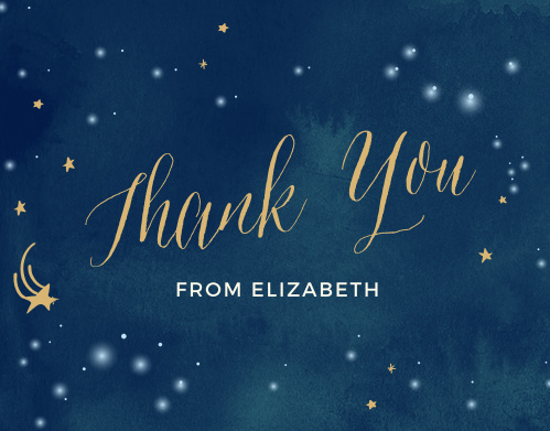 Thank the friends and family who showered you with gifts for your baby with the Twinkle Twinkle Foil Baby Shower Thank You Cards from the Love Vs Design Collection at Basic Invite