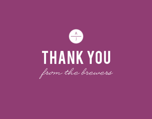 Our Clean & Classic Thank You Cards, with their royal purple background and white text, cleverly use negative space to express a positive message.