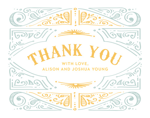 Cheerful Celebrations Thank You Cards feature a bright, playful yellow title in the center declaring your gratitude.