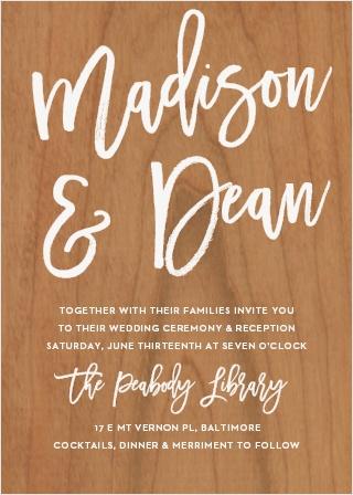 Marker Script Wood Wedding Invitations