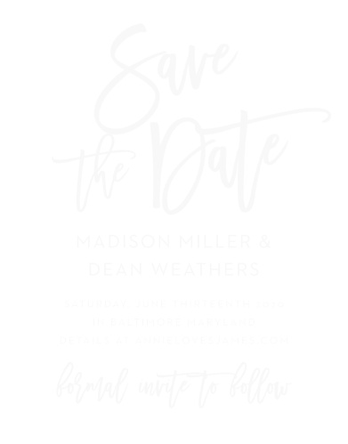 A beautiful, scrolling typeface titles our Marker Script Wood Save-the-Date Cards,  while the details below are written in a clear, clean font.