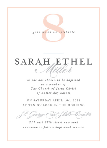 Extravagant Eight Girl LDS Baptism Invitations are ideal when you're looking for a classic, elegant card.