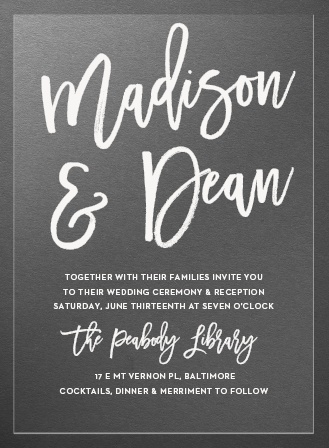 Marker Script Clear Wedding Invitations